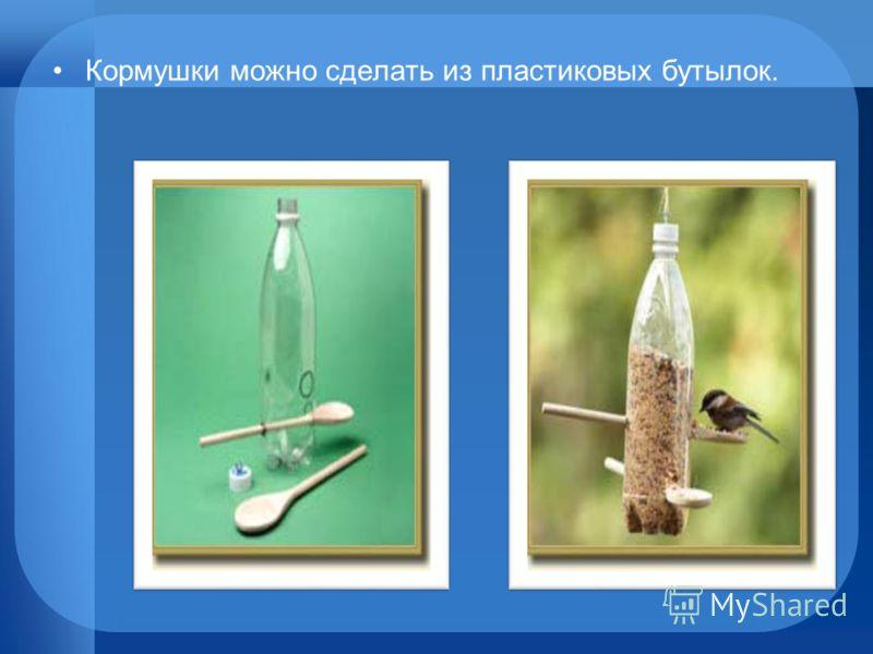 Кормушки можно сделать из пластиковых бутылок.