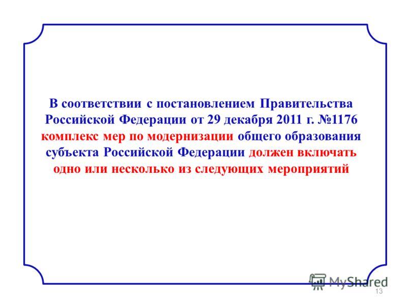 В соответствии с постановлением Правительства Российской Федерации от 29 декабря 2011 г. 1176 комплекс мер по модернизации общего образования субъекта Российской Федерации должен включать одно или несколько из следующих мероприятий 13
