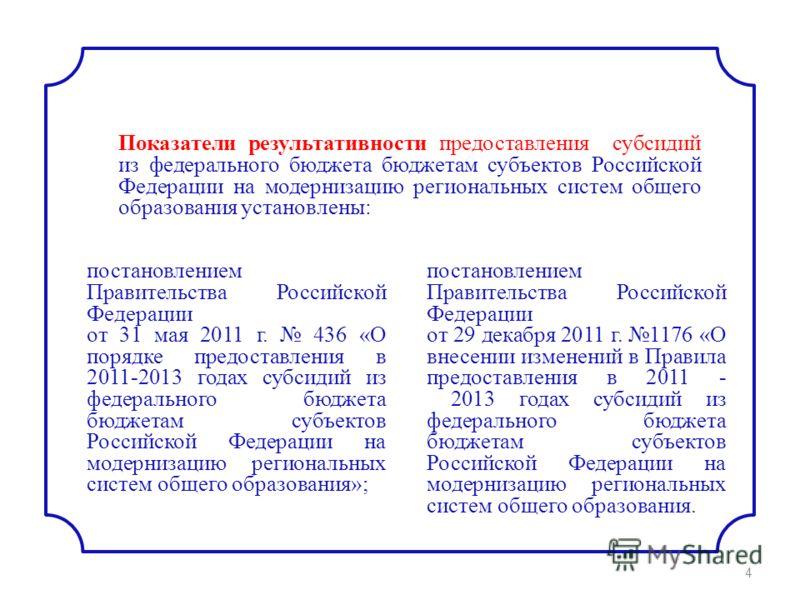 постановлением Правительства Российской Федерации от 31 мая 2011 г. 436 «О порядке предоставления в 2011-2013 годах субсидий из федерального бюджета бюджетам субъектов Российской Федерации на модернизацию региональных систем общего образования»; пост