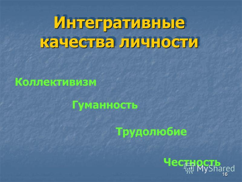 16 Интегративные качества личности Коллективизм Гуманность Трудолюбие Честность