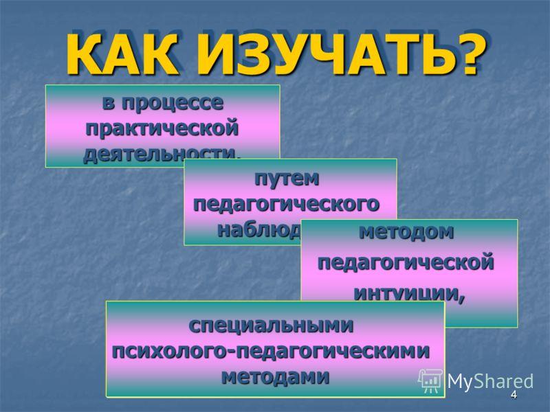 4 КАК ИЗУЧАТЬ? в процессе практической практической деятельности, путемпедагогическогонаблюдения, методомпедагогическойинтуиции, специальнымипсихолого-педагогическимиметодами
