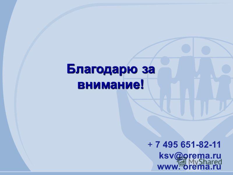 + 7 495 651-82-11 ksv@orema.ru www. orema.ru Благодарю за внимание!