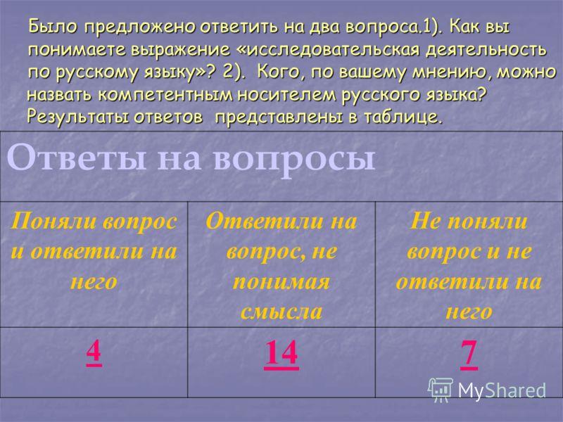 Было предложено ответить на два вопроса.1). Как вы понимаете выражение «исследовательская деятельность по русскому языку»? 2). Кого, по вашему мнению, можно назвать компетентным носителем русского языка? Результаты ответов представлены в таблице. Был