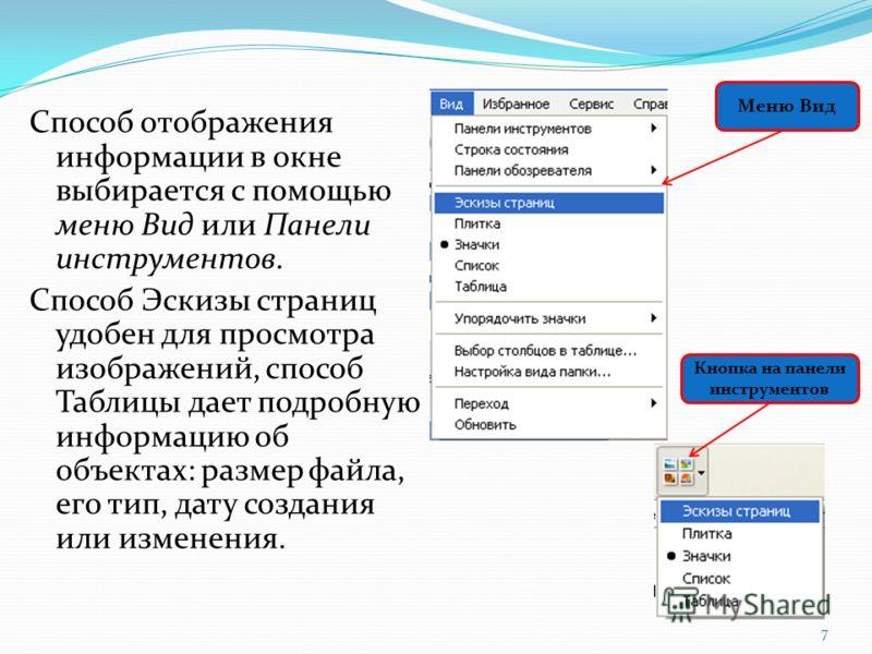 Способ отображения информации в окне выбирается с помощью меню Вид или Панели инструментов. Способ Эскизы страниц удобен для просмотра изображений, способ Таблицы дает подробную информацию об объектах: размер файла, его тип, дату создания или изменен