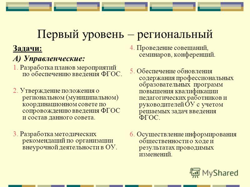 Первый уровень – региональный Задачи: А) Управленческие: 1. Разработка планов мероприятий по обеспечению введения ФГОС. 2. Утверждение положения о региональном (муниципальном) координационном совете по сопровождению введения ФГОС и состав данного сов