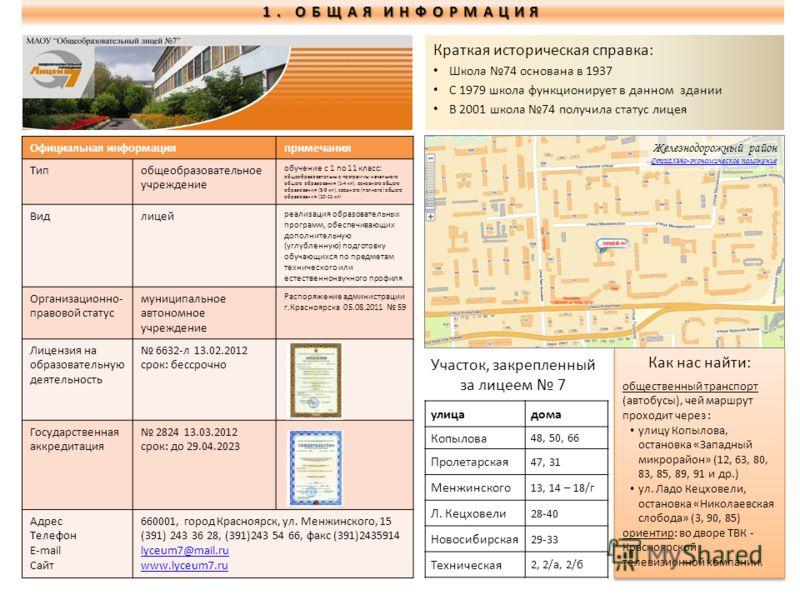 Официальная информацияпримечания Типобщеобразовательное учреждение обучение с 1 по 11 класс: общеобразовательные программы начального общего образования (1-4 кл), основного общего образования (5-9 кл), среднего (полного) общего образования (10-11 кл)