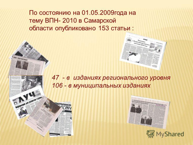 По состоянию на 01.05.2009года на тему ВПН- 2010 в Самарской области опубликовано 153 статьи : 47 - в изданиях регионального уровня 106 - в муниципальных изданиях