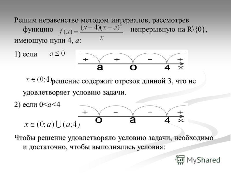 Решим неравенство методом интервалов, рассмотрев функцию непрерывную на R\{0}, имеющую нули 4, а: 1) если - решение содержит отрезок длиной 3, что не удовлетворяет условию задачи. - решение содержит отрезок длиной 3, что не удовлетворяет условию зада