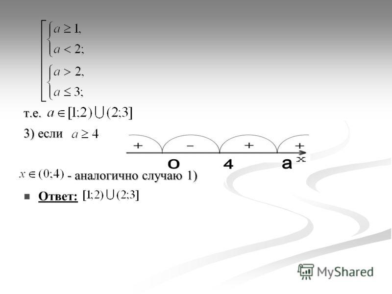 т.е. 3) если - аналогично случаю 1) - аналогично случаю 1) Ответ: