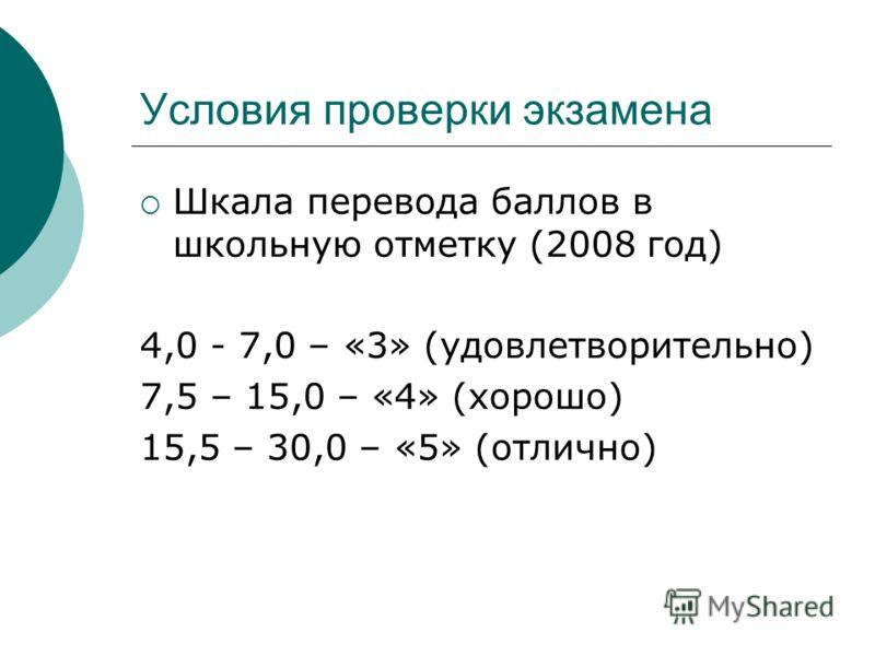 Условия проверки экзамена Шкала перевода баллов в школьную отметку (2008 год) 4,0 - 7,0 – «3» (удовлетворительно) 7,5 – 15,0 – «4» (хорошо) 15,5 – 30,0 – «5» (отлично)