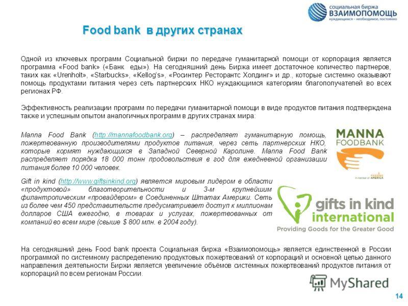 14 Food bank в других странах Одной из ключевых программ Социальной биржи по передаче гуманитарной помощи от корпорация является программа «Food bank» («Банк еды»). На сегодняшний день Биржа имеет достаточное количество партнеров, таких как «Urenholt