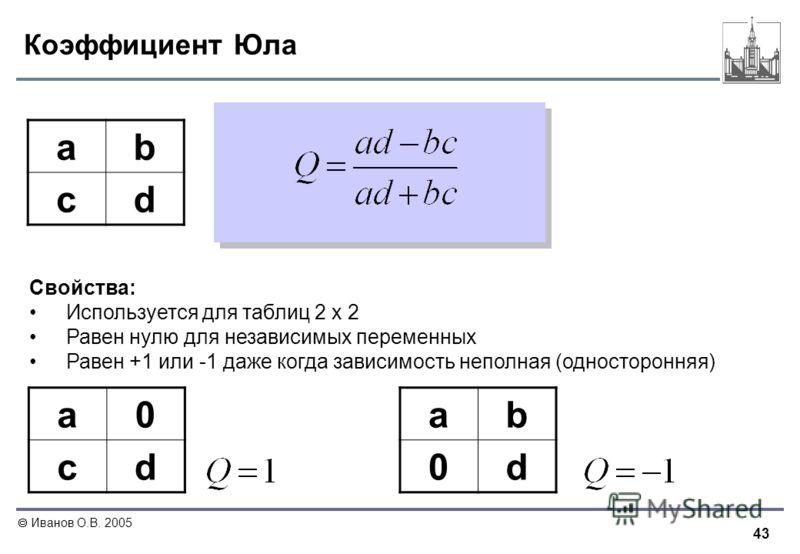 43 Иванов О.В. 2005 Коэффициент Юла ab cd Свойства: Используется для таблиц 2 х 2 Равен нулю для независимых переменных Равен +1 или -1 даже когда зависимость неполная (односторонняя) a0 cd ab 0d
