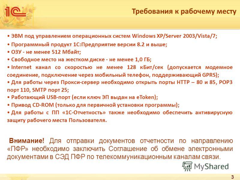 3 Требования к рабочему месту ЭВМ под управлением операционных систем Windows XP/Server 2003/Vista/7; Программный продукт 1С:Предприятие версии 8.2 и выше; ОЗУ - не менее 512 Мбайт; Свободное место на жестком диске - не менее 1,0 ГБ; Internet канал с