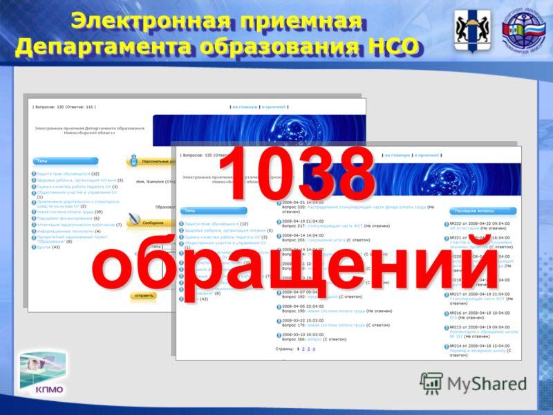 Электронная приемная Департамента образования НСО 1038 обращений