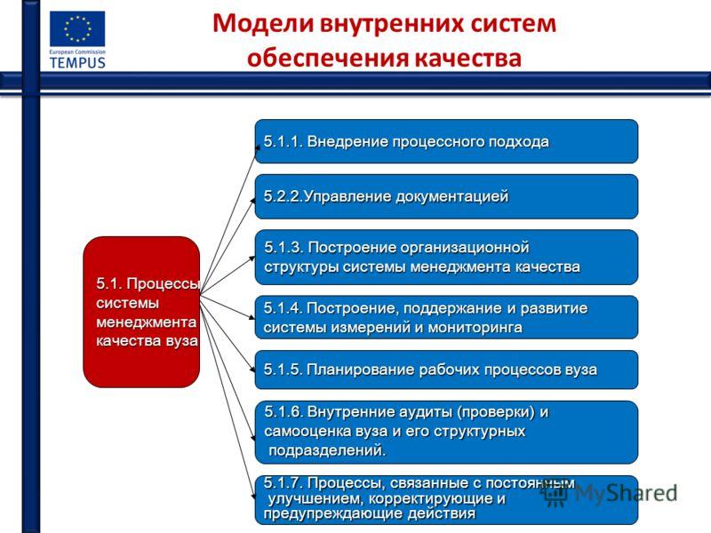 Модели внутренних систем обеспечения качества 5.1. Процессы системыменеджмента качества вуза 5.1.1. Внедрение процессного подхода 5.2.2.Управление документацией 5.1.3. Построение организационной структуры системы менеджмента качества 5.1.4. Построени
