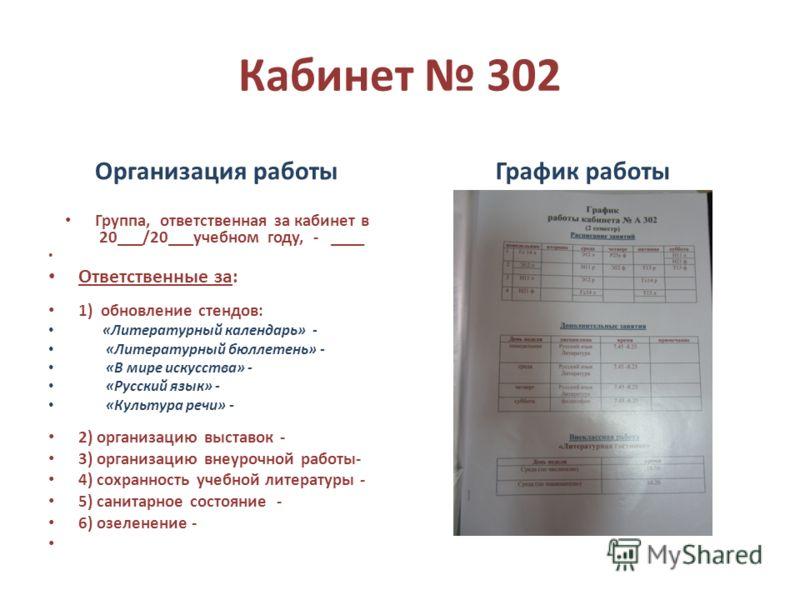 Кабинет 302 Организация работы Группа, ответственная за кабинет в 20___/20___учебном году, - ____ Ответственные за: 1) обновление стендов: «Литературный календарь» - «Литературный бюллетень» - «В мире искусства» - «Русский язык» - «Культура речи» - 2