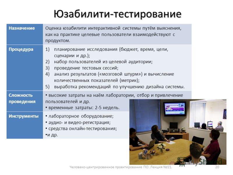 Человеко-центрированное проектирование ПО. Лекция 11.20 Юзабилити-тестирование НазначениеОценка юзабилити интерактивной системы путём выяснения, как на практике целевые пользователи взаимодействуют с продуктом. Процедура1)планирование исследования (б