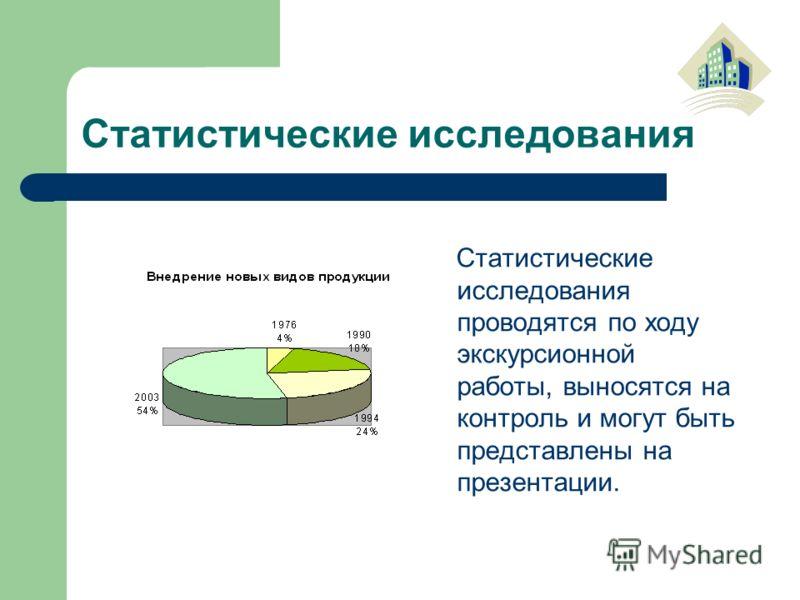 Статистические исследования Статистические исследования проводятся по ходу экскурсионной работы, выносятся на контроль и могут быть представлены на презентации.