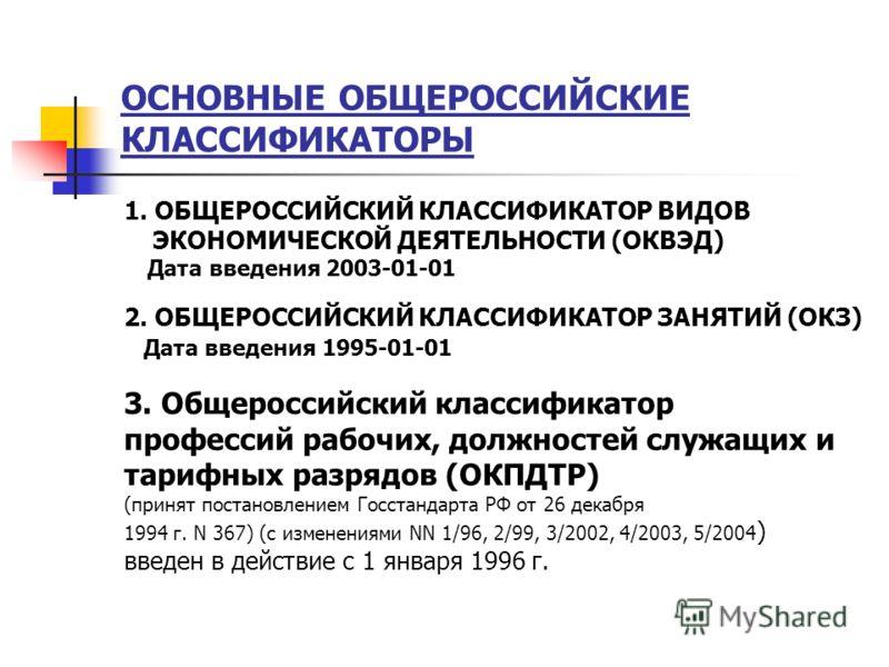 ОСНОВНЫЕ ОБЩЕРОССИЙСКИЕ КЛАСCИФИКАТОРЫ 1. ОБЩЕРОССИЙСКИЙ КЛАССИФИКАТОР ВИДОВ ЭКОНОМИЧЕСКОЙ ДЕЯТЕЛЬНОСТИ (ОКВЭД) Дата введения 2003-01-01 2. ОБЩЕРОССИЙСКИЙ КЛАССИФИКАТОР ЗАНЯТИЙ (ОКЗ) Дата введения 1995-01-01 3. Общероссийский классификатор профессий