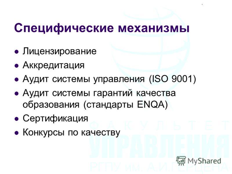 Специфические механизмы Лицензирование Аккредитация Аудит системы управления (ISO 9001) Аудит системы гарантий качества образования (стандарты ENQA) Сертификация Конкурсы по качеству