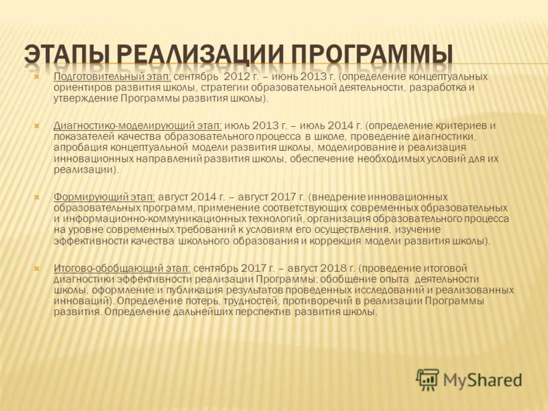 Подготовительный этап: сентябрь 2012 г. – июнь 2013 г. (определение концептуальных ориентиров развития школы, стратегии образовательной деятельности, разработка и утверждение Программы развития школы). Диагностико-моделирующий этап: июль 2013 г. – ию