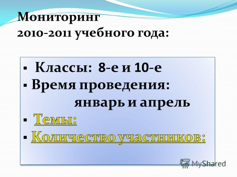 Мониторинг 2010-2011 учебного года: