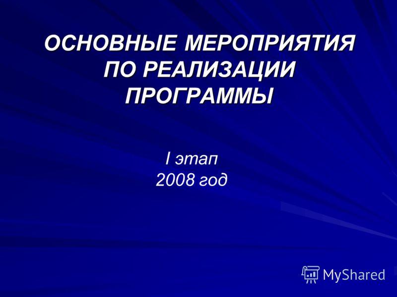 ОСНОВНЫЕ МЕРОПРИЯТИЯ ПО РЕАЛИЗАЦИИ ПРОГРАММЫ I этап 2008 год