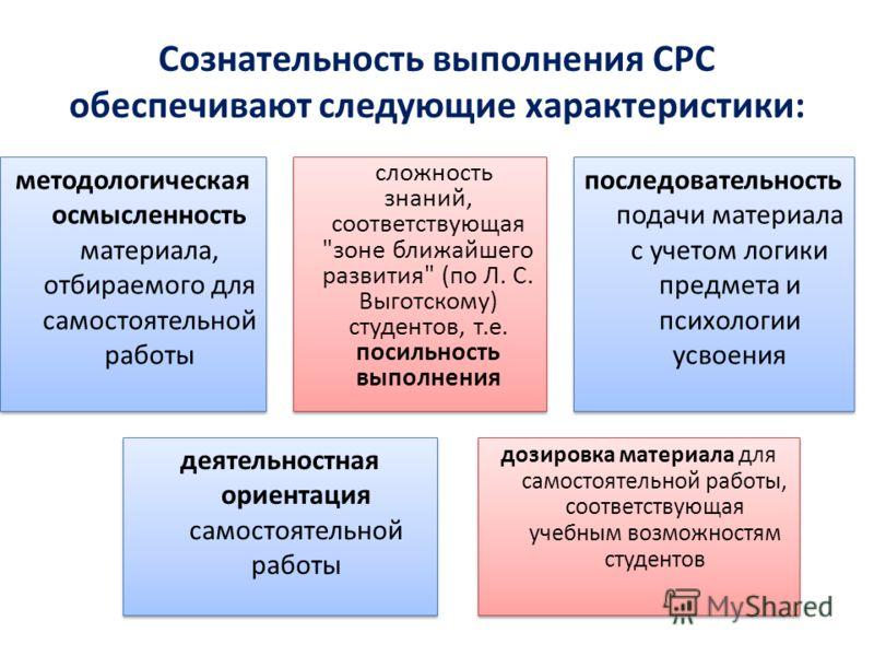 Сознательность выполнения СРС обеспечивают следующие характеристики: методологическая осмысленность материала, отбираемого для самостоятельной работы сложность знаний, соответствующая