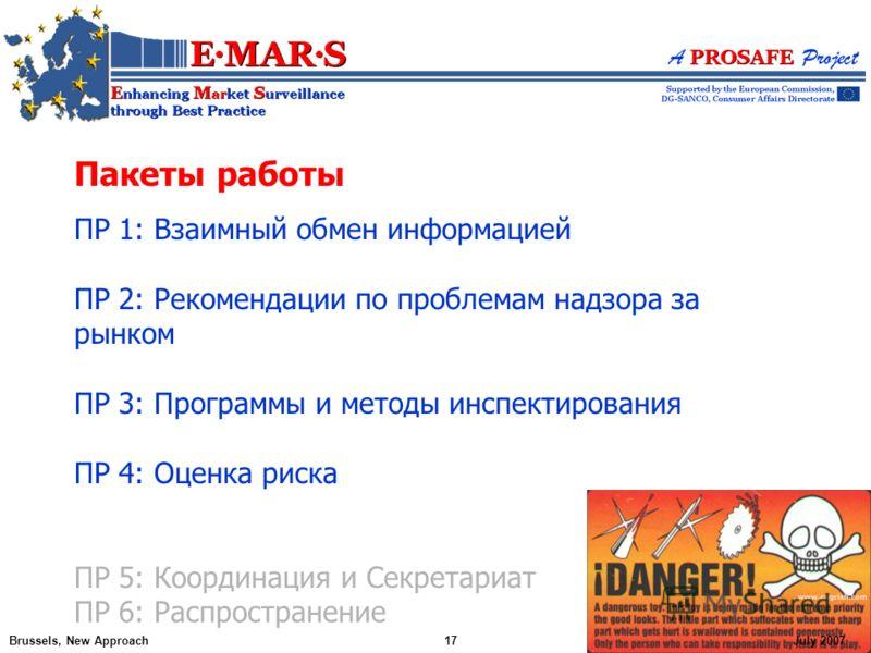 Пакеты работы ПР 1: Взаимный обмен информацией ПР 2: Рекомендации по проблемам надзора за рынком ПР 3: Программы и методы инспектирования ПР 4: Оценка риска ПР 5: Координация и Секретариат ПР 6: Распространение Brussels, New Approach17July 2007
