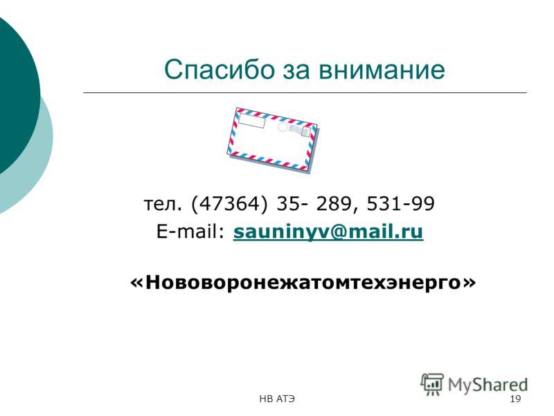 НВ АТЭ19 Спасибо за внимание тел. (47364) 35- 289, 531-99 E-mail: sauninyv@mail.rusauninyv@mail.ru «Нововоронежатомтехэнерго»