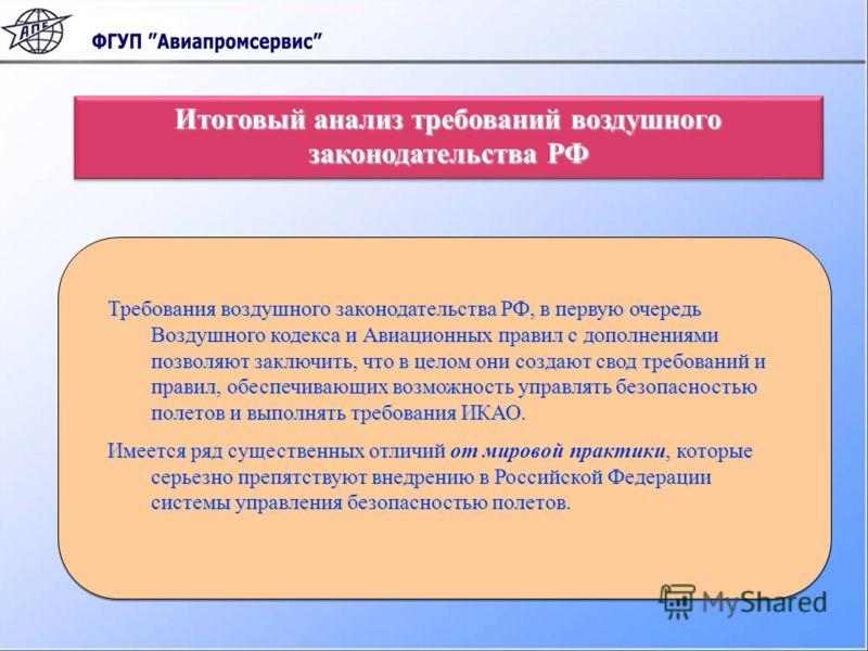 Требования воздушного законодательства РФ, в первую очередь Воздушного кодекса и Авиационных правил с дополнениями позволяют заключить, что в целом они создают свод требований и правил, обеспечивающих возможность управлять безопасностью полетов и вып