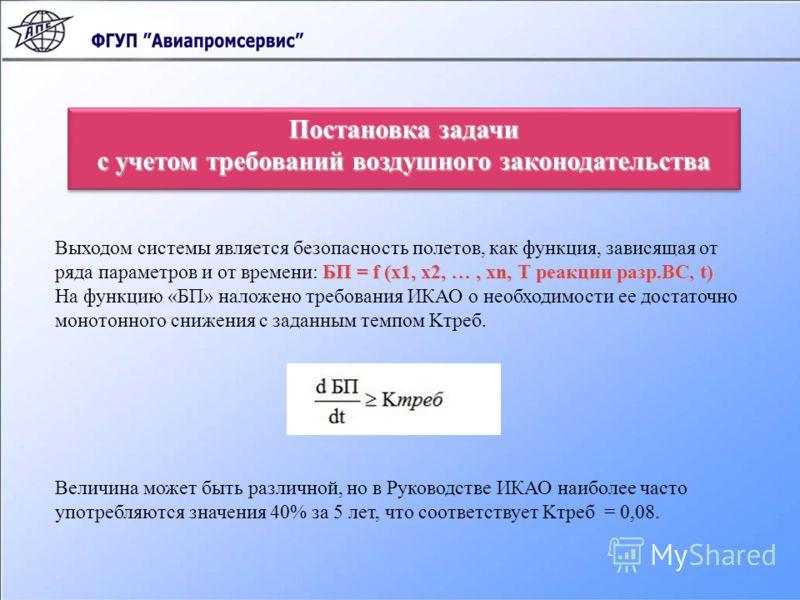 Постановка задачи с учетом требований воздушного законодательства Постановка задачи с учетом требований воздушного законодательства БП = f (х1, х2, …, хn, Т реакции разр.ВС, t) Выходом системы является безопасность полетов, как функция, зависящая от