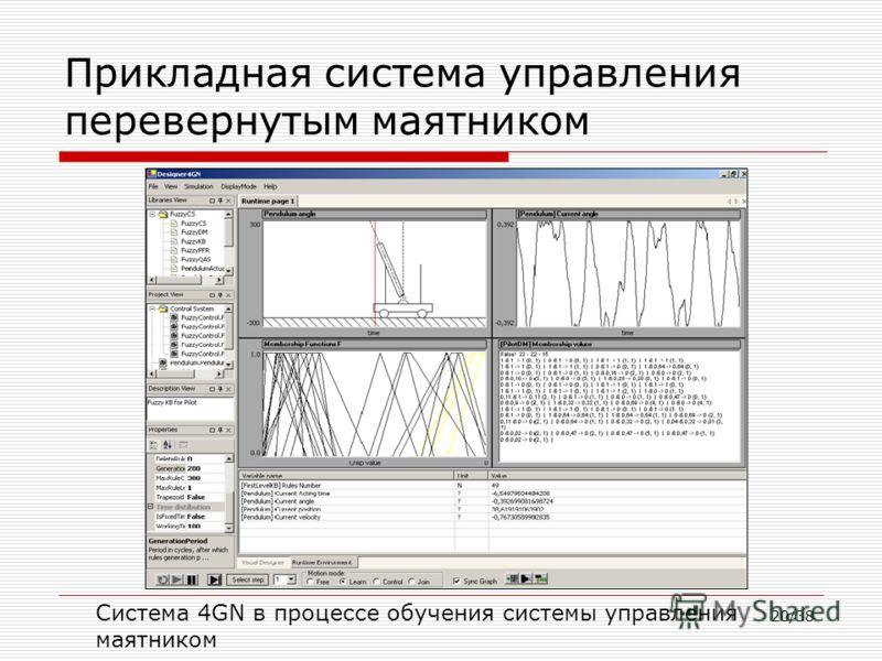 20/38 Прикладная система управления перевернутым маятником Система 4GN в процессе обучения системы управления маятником