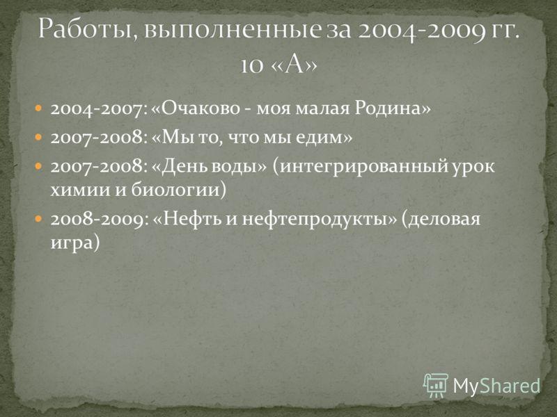 2004-2007: «Очаково - моя малая Родина» 2007-2008: «Мы то, что мы едим» 2007-2008: «День воды» (интегрированный урок химии и биологии) 2008-2009: «Нефть и нефтепродукты» (деловая игра)