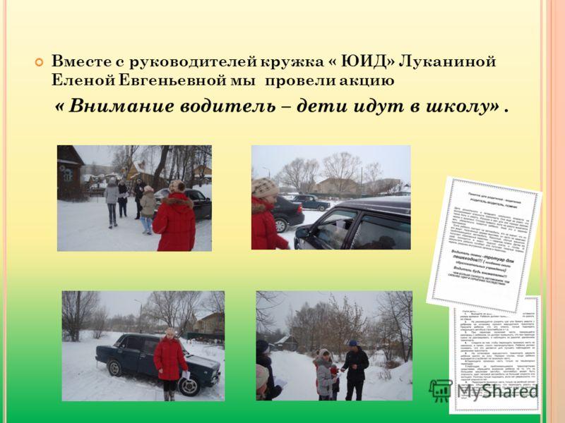 Вместе с руководителей кружка « ЮИД» Луканиной Еленой Евгеньевной мы провели акцию « Внимание водитель – дети идут в школу».