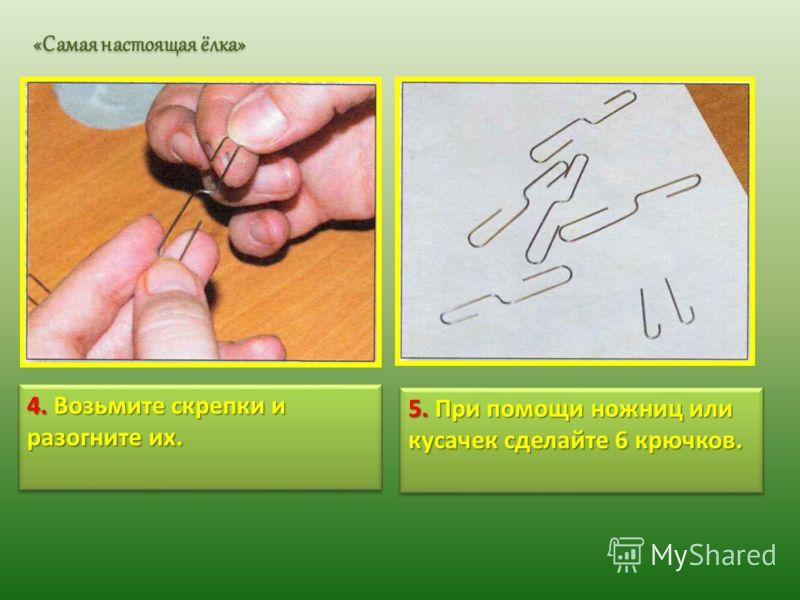 4. Возьмите скрепки и разогните их. 5. При помощи ножниц или кусачек сделайте 6 крючков. «Самая настоящая ёлка»