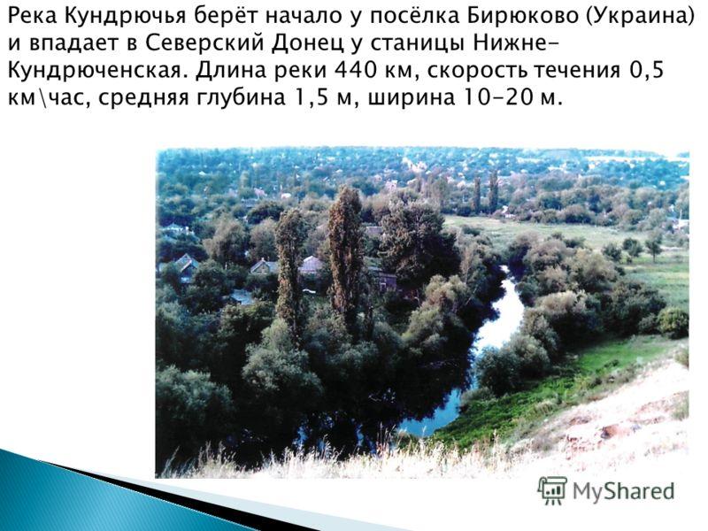 Река Кундрючья берёт начало у посёлка Бирюково (Украина) и впадает в Северский Донец у станицы Нижне- Кундрюченская. Длина реки 440 км, скорость течения 0,5 км\час, средняя глубина 1,5 м, ширина 10-20 м.