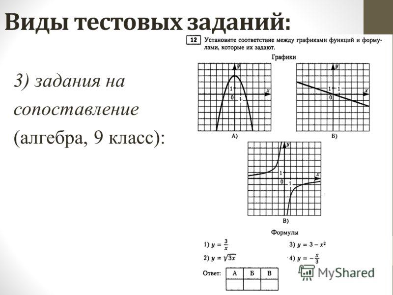 Виды тестовых заданий: 3) задания на сопоставление (алгебра, 9 класс):