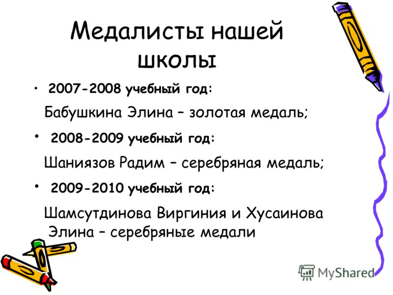 Медалисты нашей школы 2007-2008 учебный год: Бабушкина Элина – золотая медаль; 2008-2009 учебный год: Шаниязов Радим – серебряная медаль; 2009-2010 учебный год: Шамсутдинова Виргиния и Хусаинова Элина – серебряные медали