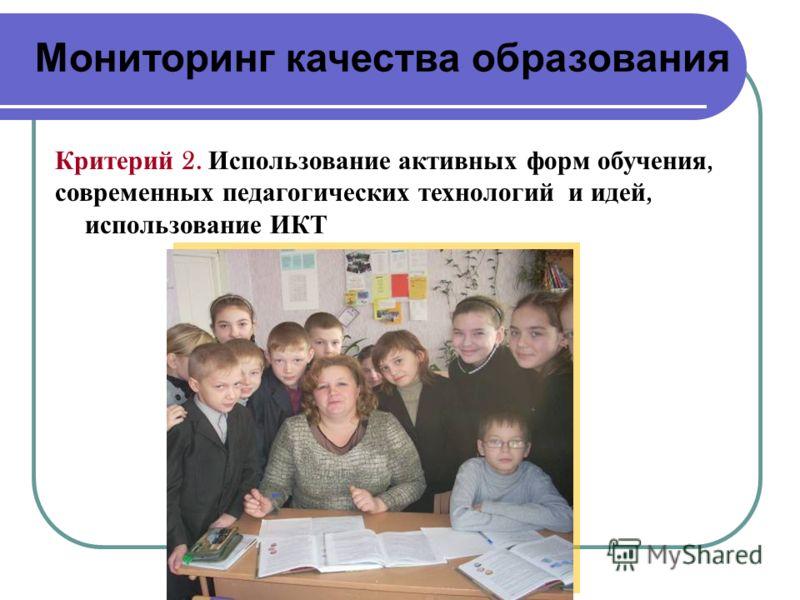 Мониторинг качества образования Критерий 2. Использование активных форм обучения, современных педагогических технологий и идей, использование ИКТ