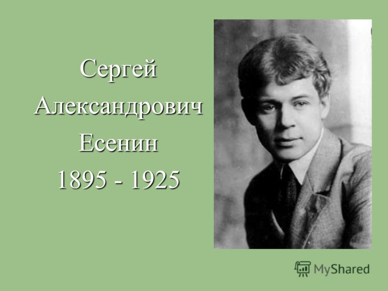 СергейАлександровичЕсенин 1895 - 1925