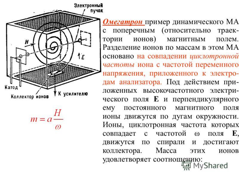 Омегатрон пример динамического МА с поперечным (относительно траек- тории ионов) магнитным полем. Разделение ионов по массам в этом МА основано на совпадении циклотронной частоты иона с частотой переменного напряжения, приложенного к электро- дам ана