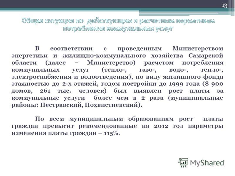 13 В соответствии с проведенным Министерством энергетики и жилищно-коммунального хозяйства Самарской области (далее – Министерство) расчетом потребления коммунальных услуг (тепло-, газо-, водо-, тепло-, электроснабжения и водоотведения), по виду жили