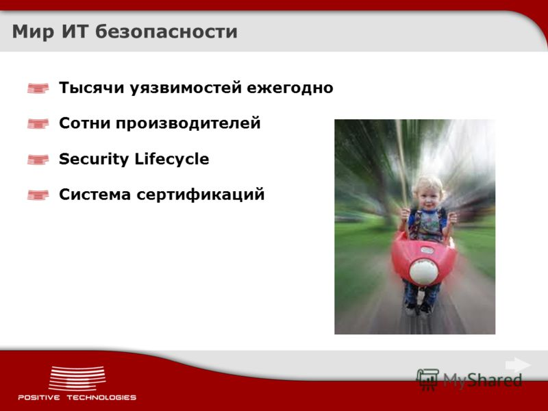 Мир ИТ безопасности Тысячи уязвимостей ежегодно Сотни производителей Security Lifecycle Система сертификаций
