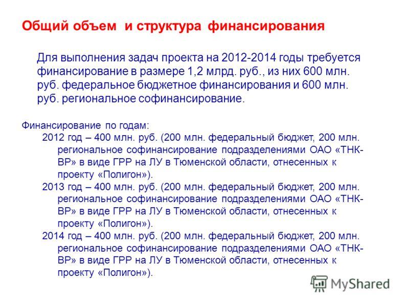 Общий объем и структура финансирования Для выполнения задач проекта на 2012-2014 годы требуется финансирование в размере 1,2 млрд. руб., из них 600 млн. руб. федеральное бюджетное финансирования и 600 млн. руб. региональное софинансирование. Финансир