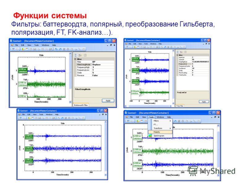 Функции системы Фильтры: баттервордта, полярный, преобразование Гильберта, поляризация, FT, FK-анализ…).