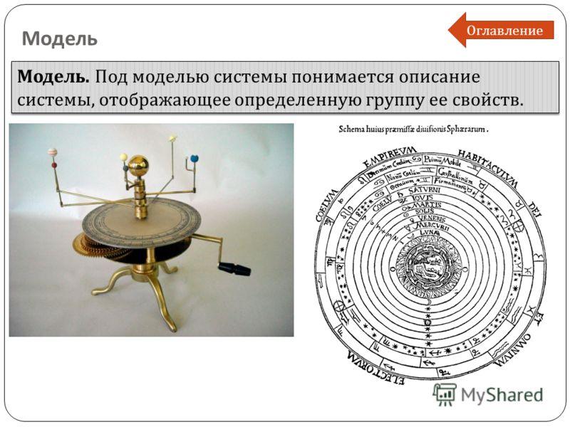 Модель Модель. Под моделью системы понимается описание системы, отображающее определенную группу ее свойств. Оглавление
