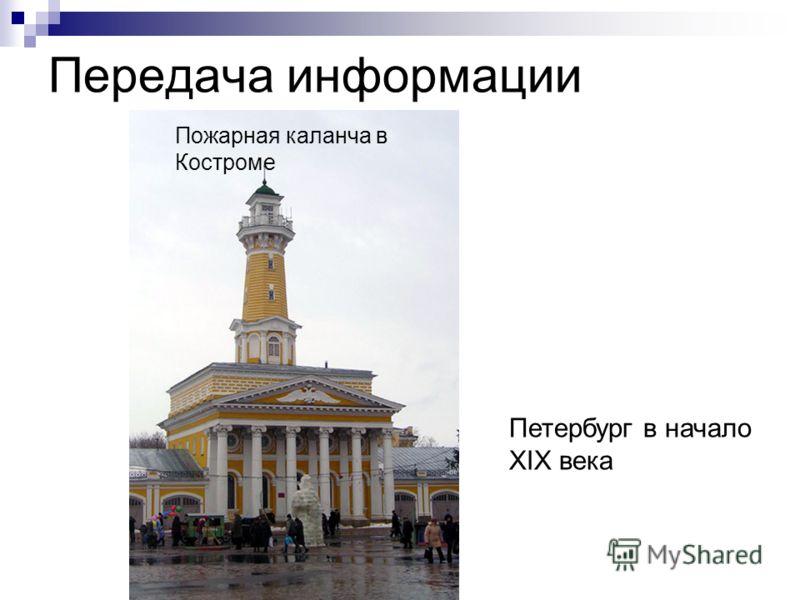 Передача информации Пожарная каланча в Костроме Петербург в начало XIX века