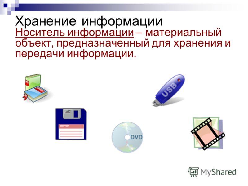 Хранение информации Носитель информации – материальный объект, предназначенный для хранения и передачи информации.