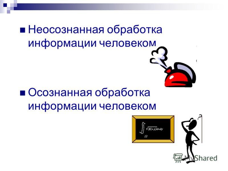 Неосознанная обработка информации человеком Осознанная обработка информации человеком
